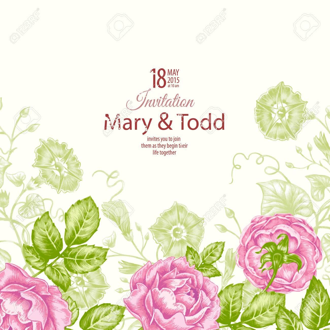 Floral Card. Bouquet Of Roses. Wedding Invitation. Vector. Retro ...