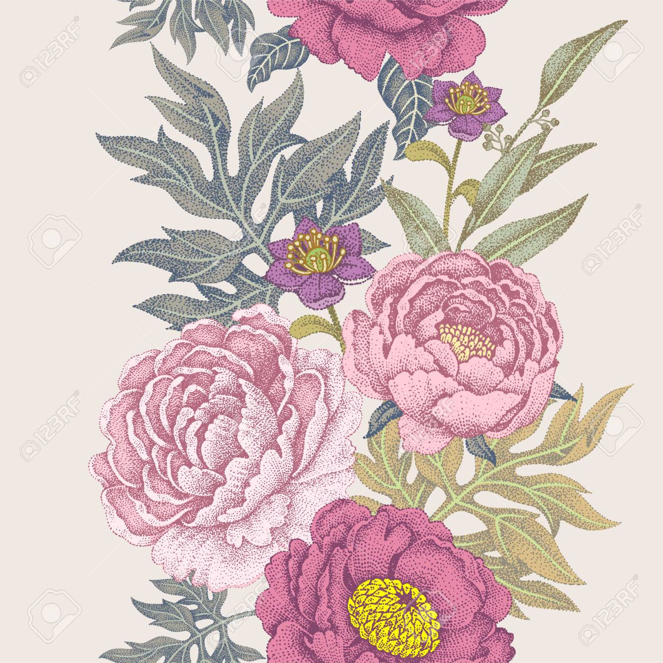 Seamless Pattern. Illustration Of Garden Flowers Of Roses, Peonies ...