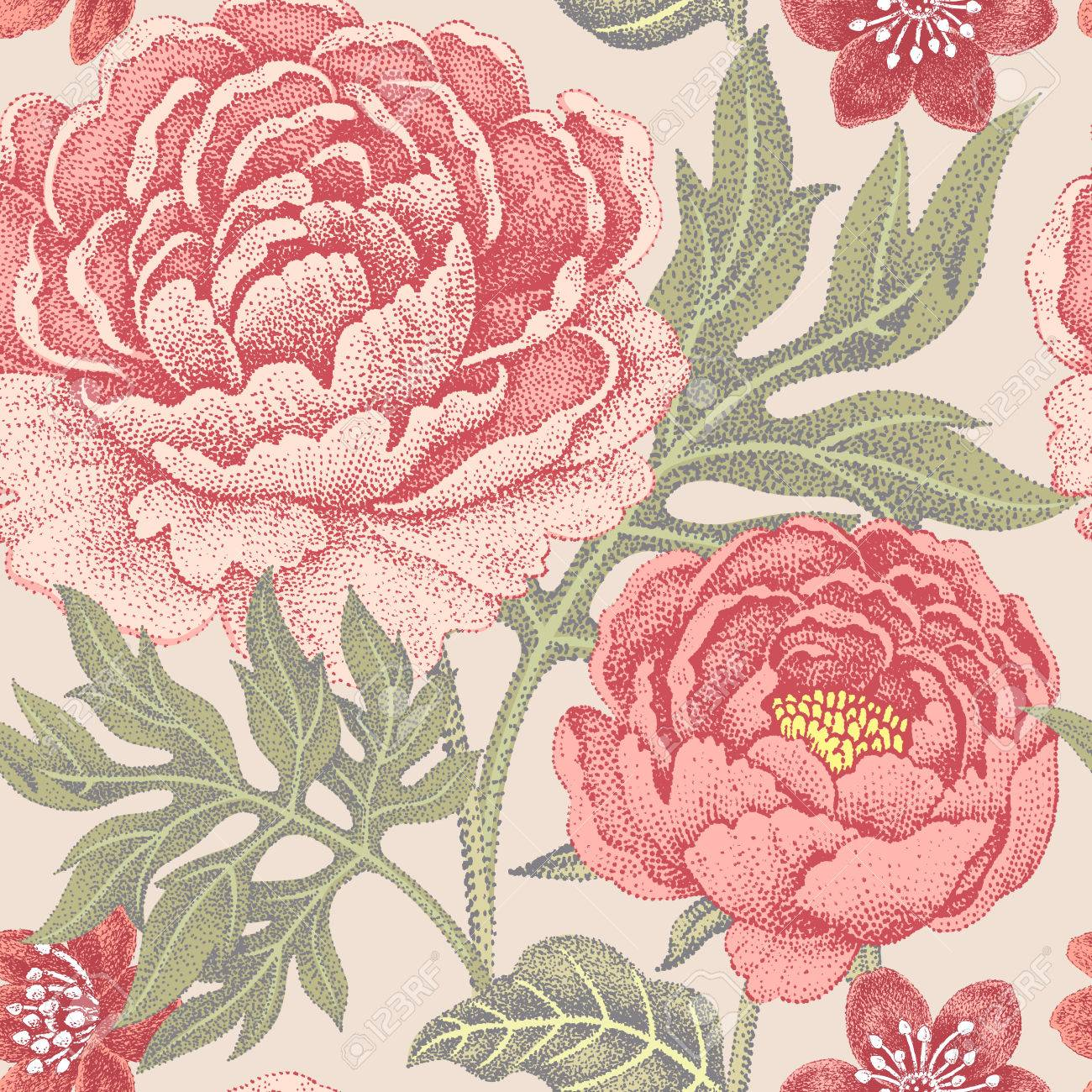 Floral seamless pattern for fabrics, textiles, wallpaper, paper. Vector. Garden flowers peonies. Design Victorian style. - 55290981