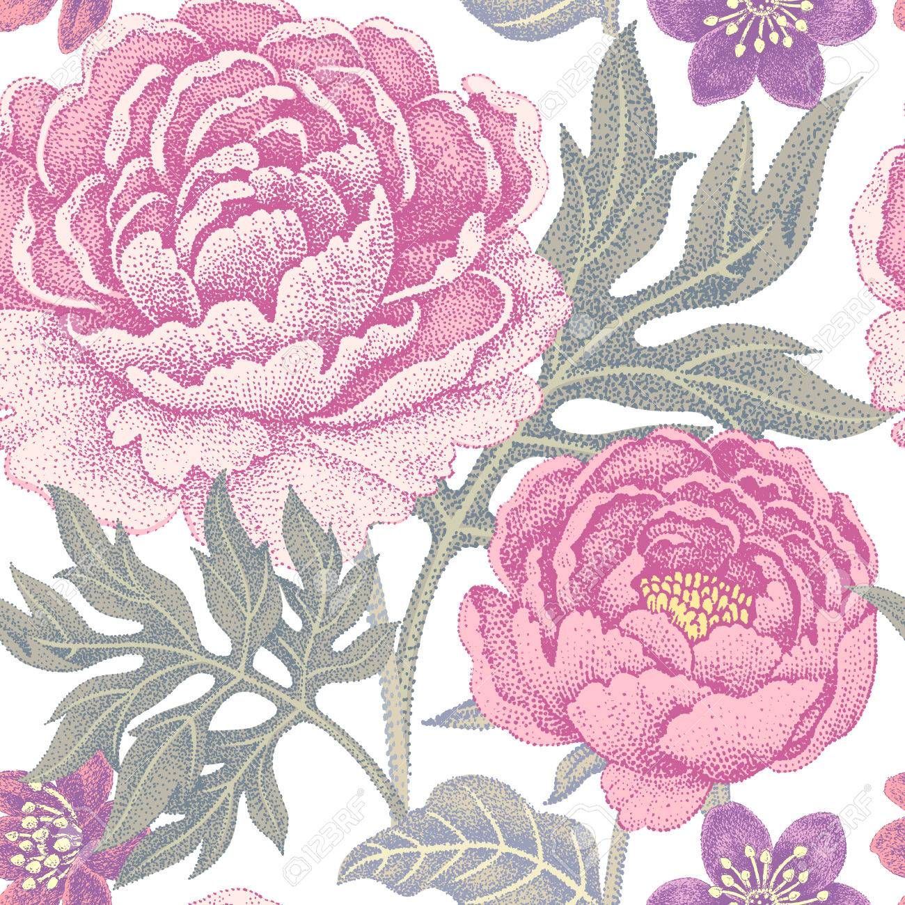 Floral Seamless Pattern On A White Background For Fabrics
