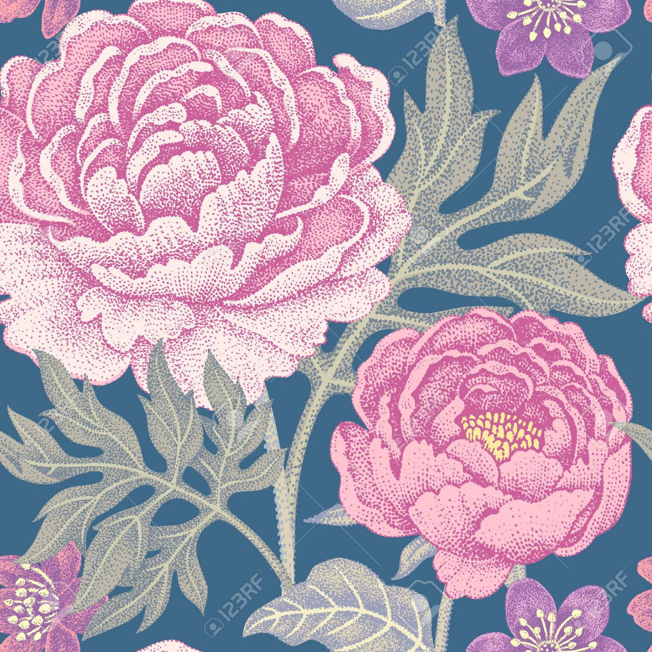 Floral Seamless Pattern For Fabrics Textiles Wallpaper Paper
