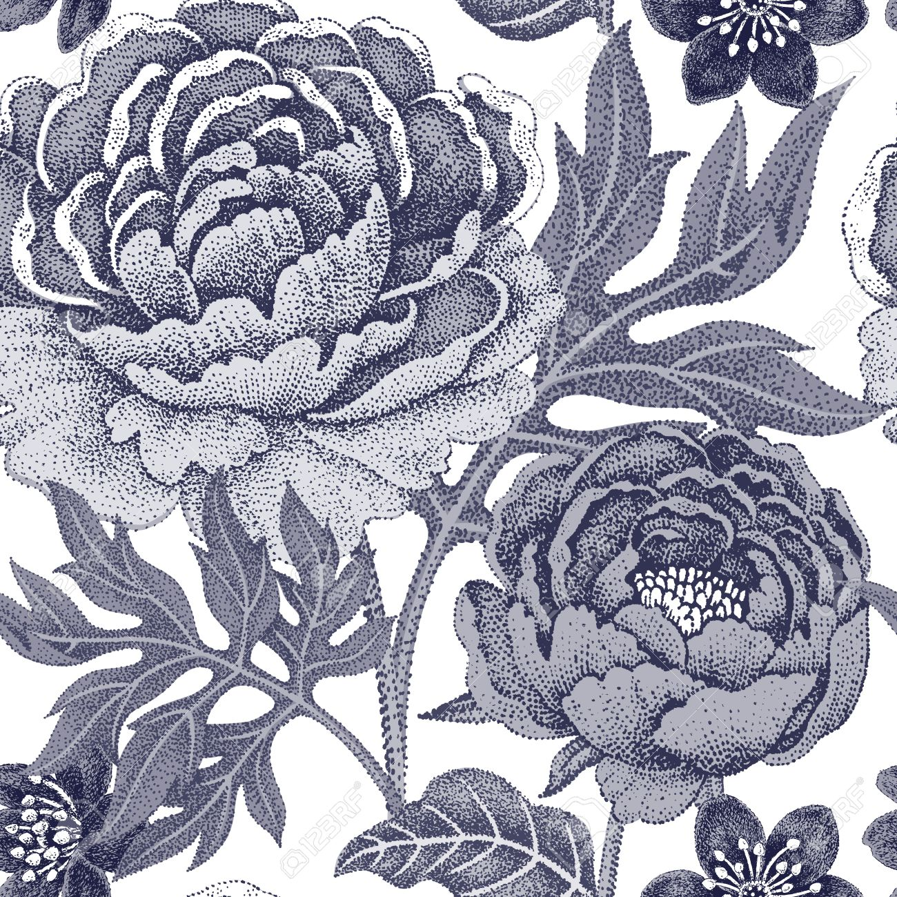 Black And White Floral Seamless Pattern For Fabrics Textiles Wallpaper Paper Vector Garden Flowers