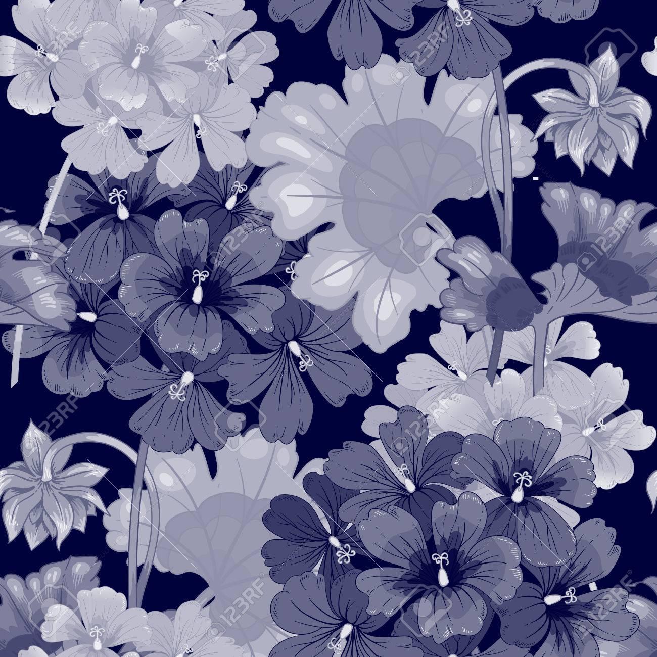Arriere Plan Avec Des Fleurs De Geranium Seamless Illustration