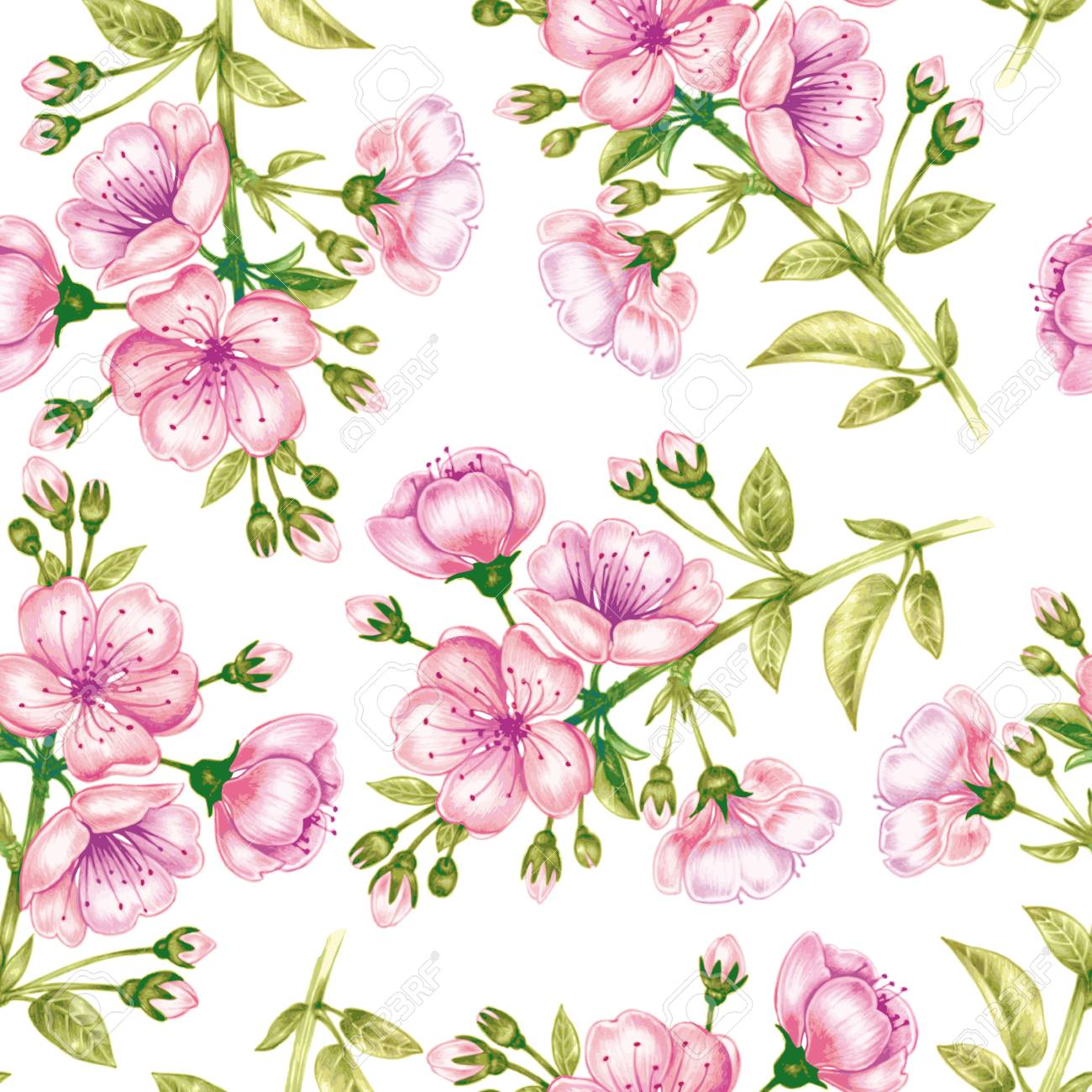 Fondo Inconsutil Del Vector Una Rama De Flores De Cerezo Diseno De