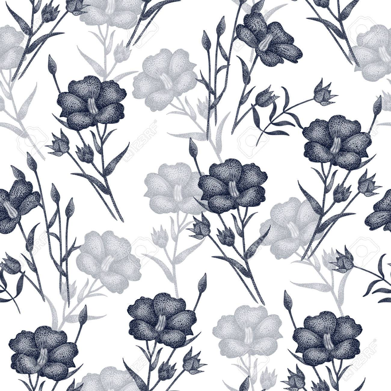 Vintage Vector Pattern With Flowers Linen In Black And White