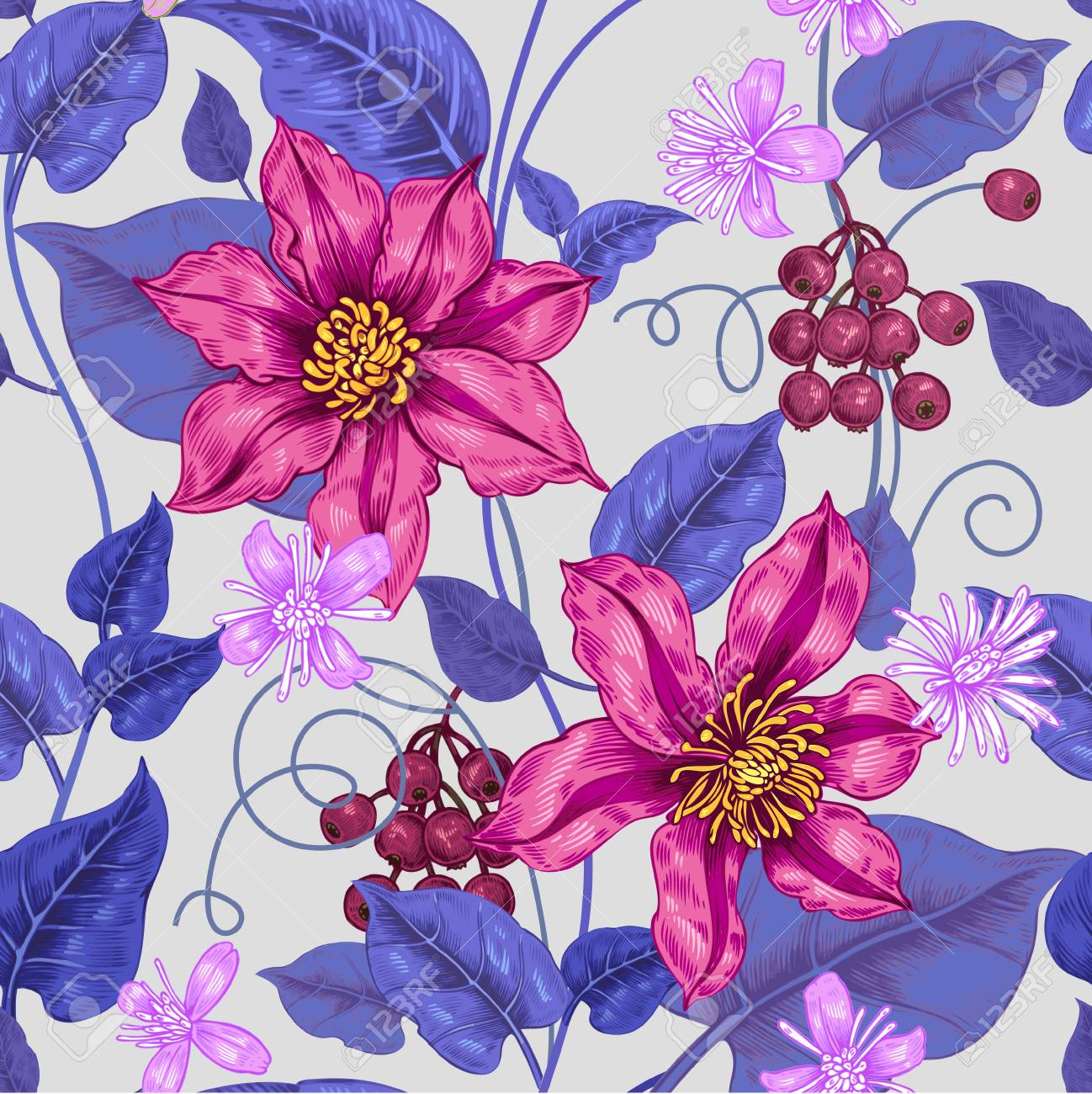 Floral Seamless Pattern Color Background For Fabrics Textiles