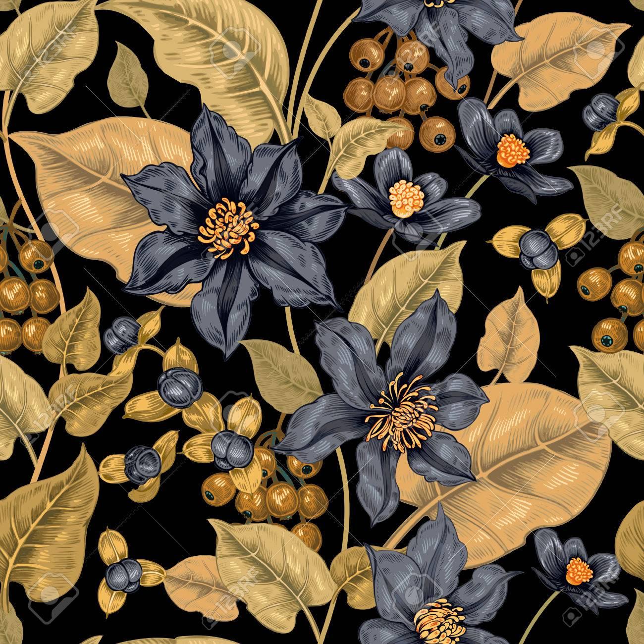 Seamless Floral Sur Un Fond Noir Pour Les Tissus Textiles Papier