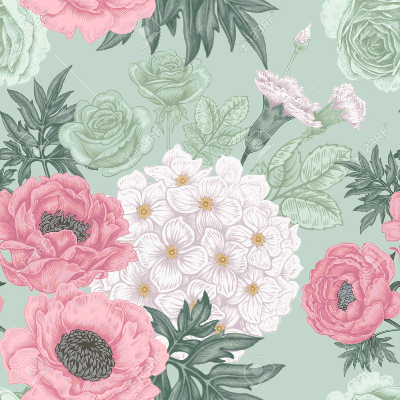 Seamless Pattern Illustration Of Garden Flowers Of Roses Peonies
