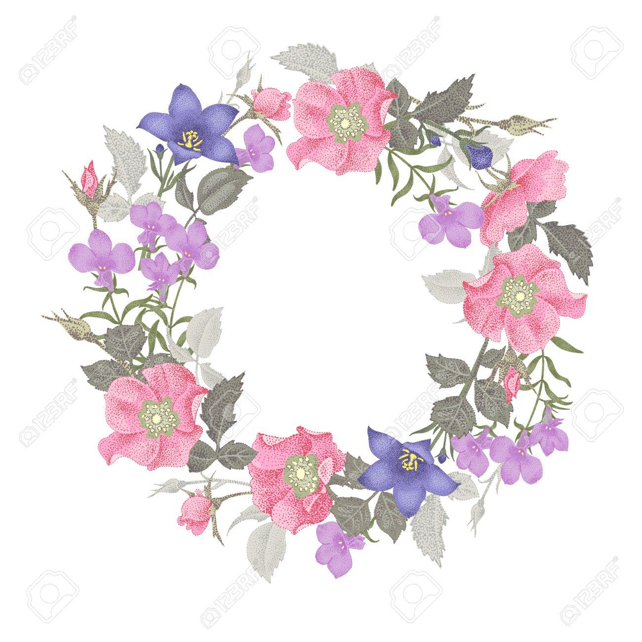 ilustración del vector aislado en el fondo blanco marco de flores