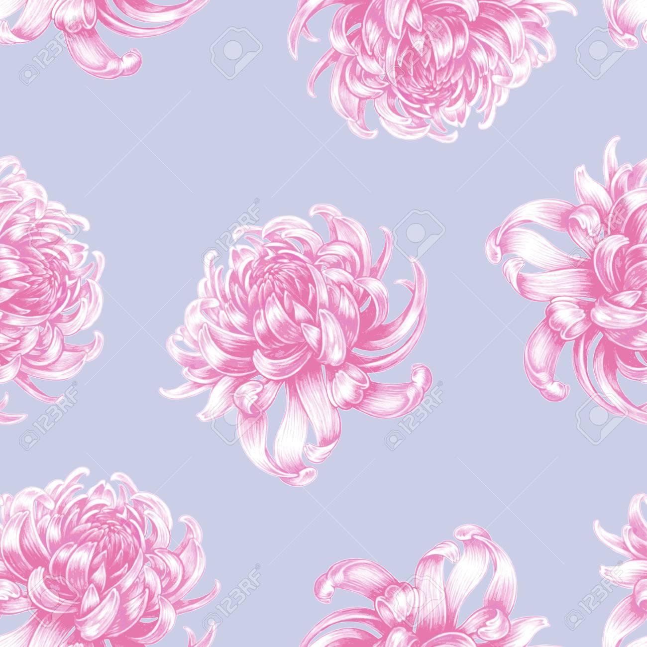 Vector Seamless Background Chrysanthemum Flowers Design For