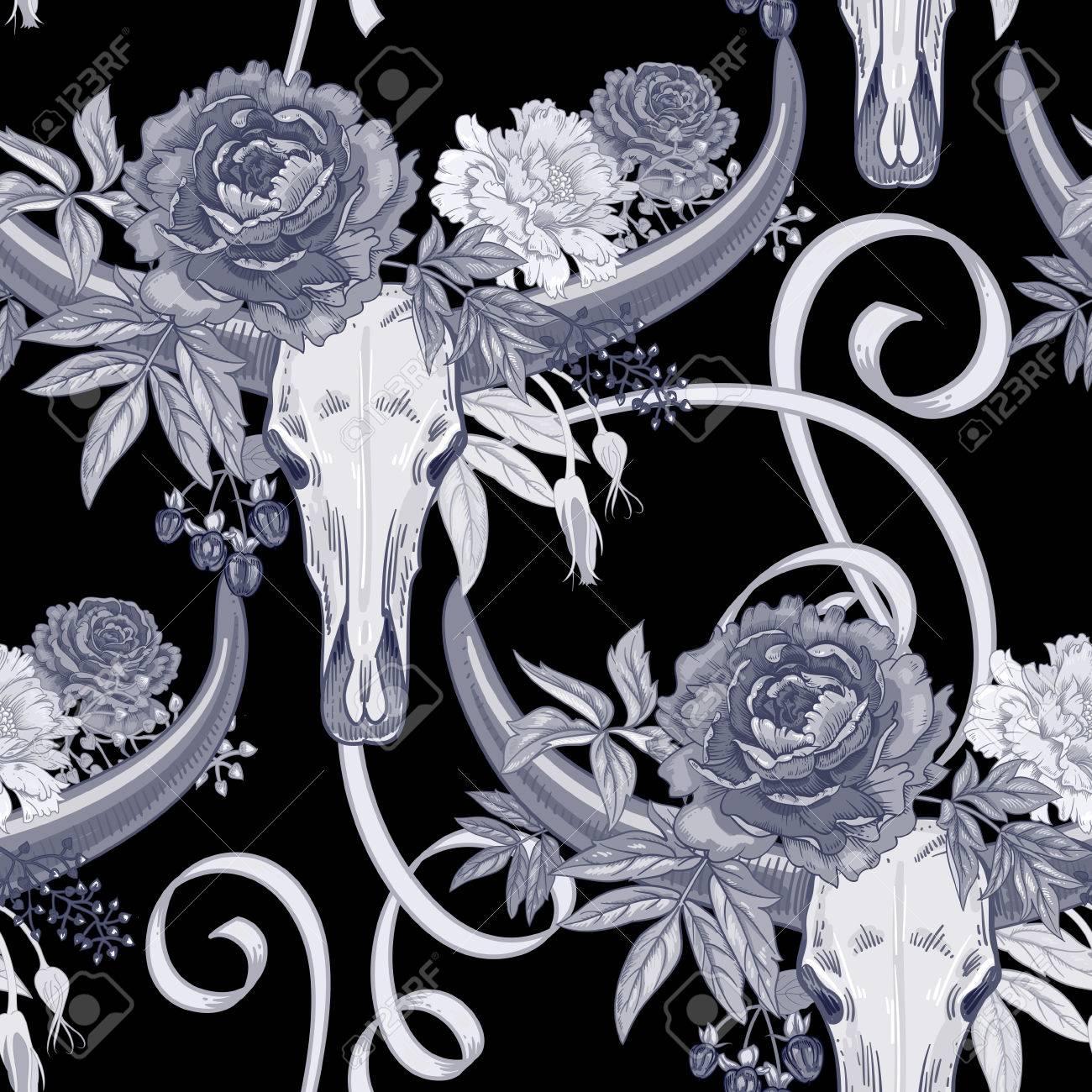 Vector Hintergrund Mit Dem Bild Der Gartenblumen Pfingstrose, Rosen ...