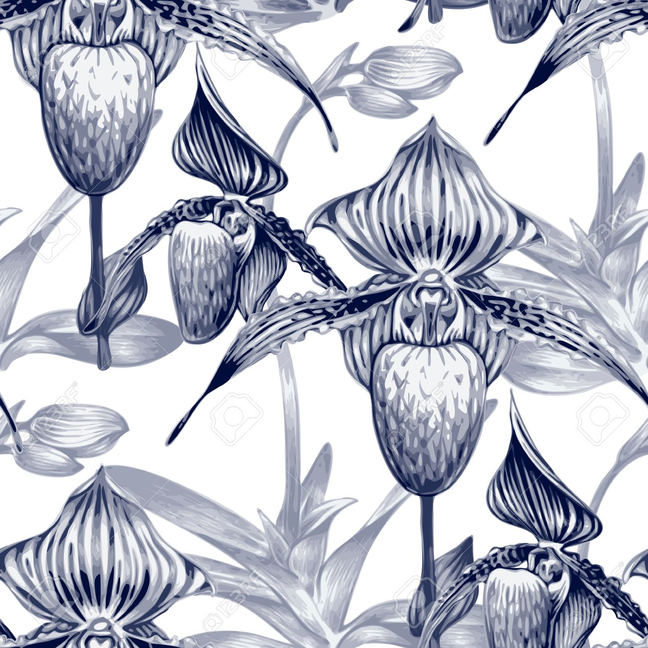 Pattern With Exotic Tropical Flowers. Orchid. Black And White.