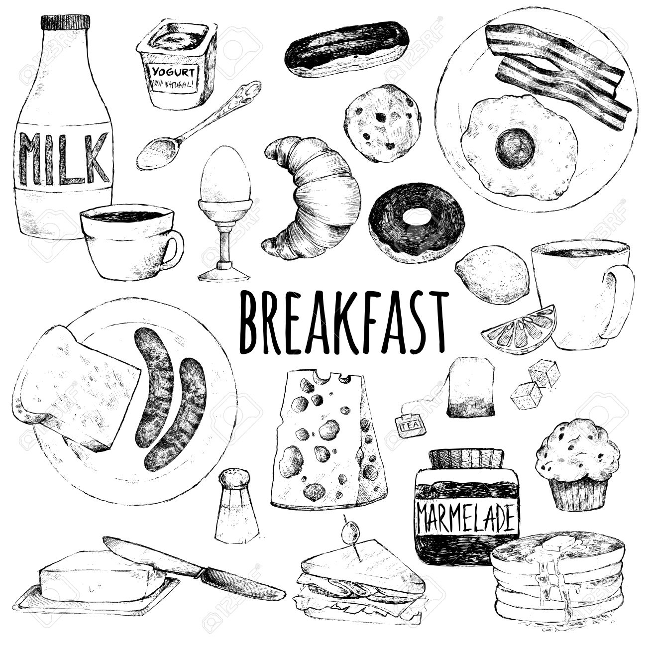 Vector doodle set. Breakfast. Scrambled eggs, bacon, croissant, donut, yogurt, milk, bread, sausages, cheese, butter, sandwich, pancakes, muffins, jam, tea, coffee, eclairs, lemon, salt. Hand drawing. - 60865033