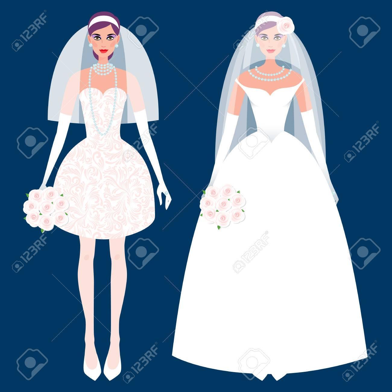 Nettes Mädchen In Einem Hochzeitskleid. Urlaub Vektor-Illustration ...