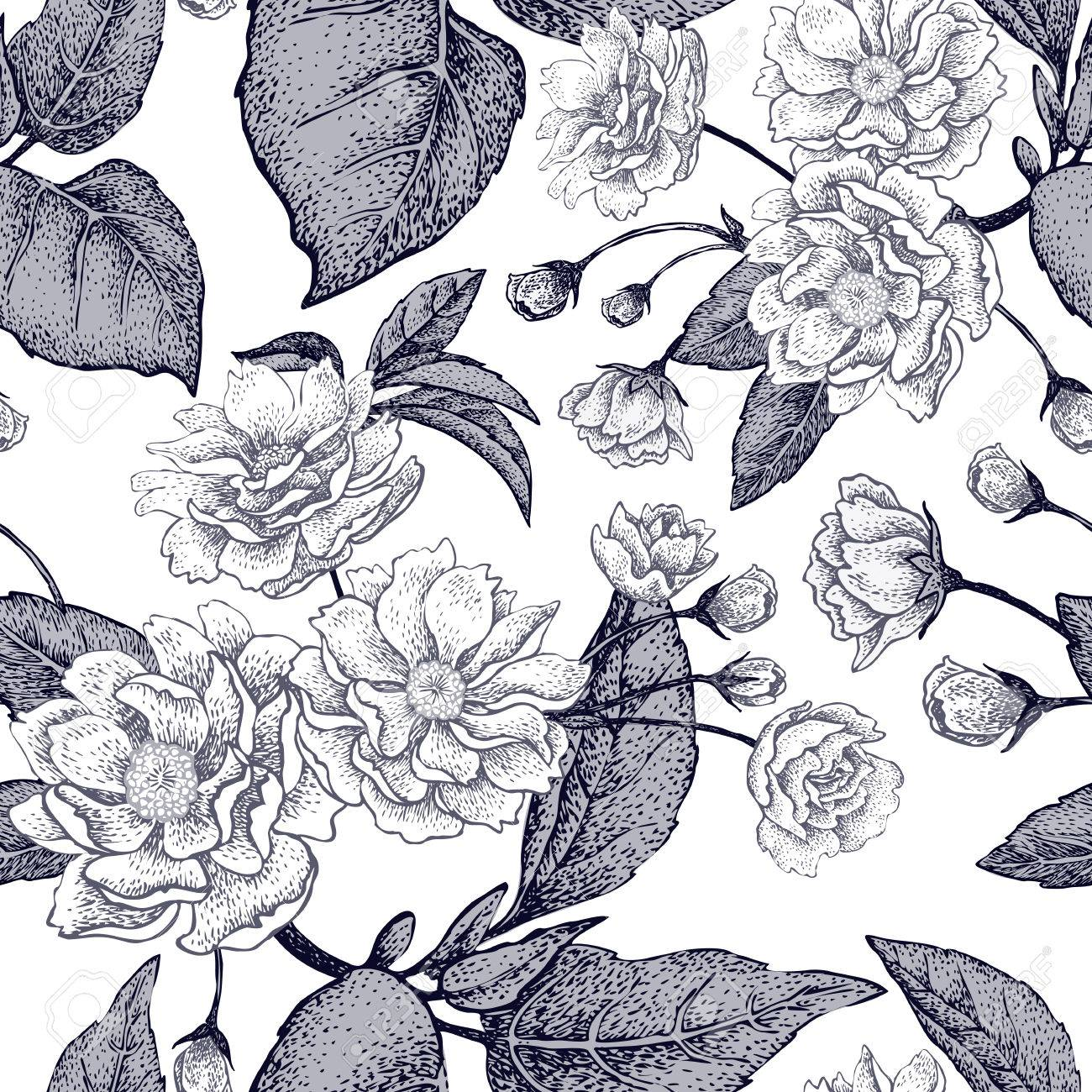 Black And White Vector Background With Flower Chinese Plum Floral Pattern With Leaves Flowers And Branches Of The Tree Chinese Plum Design Paper