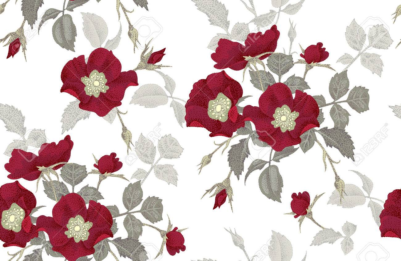 Vintage floral seamless background with blooming roses vector pattern illustration for use in interior
