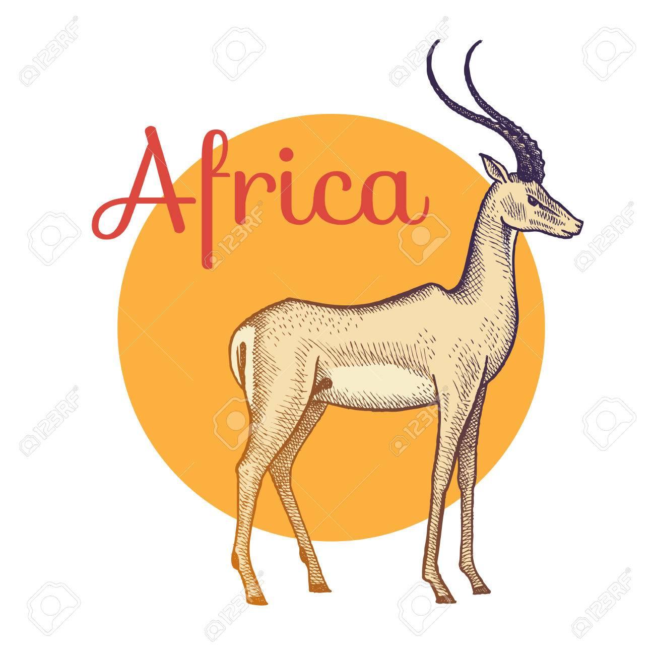 アフリカの動物カモシカイラスト ベクトル アートビンテージ彫刻を