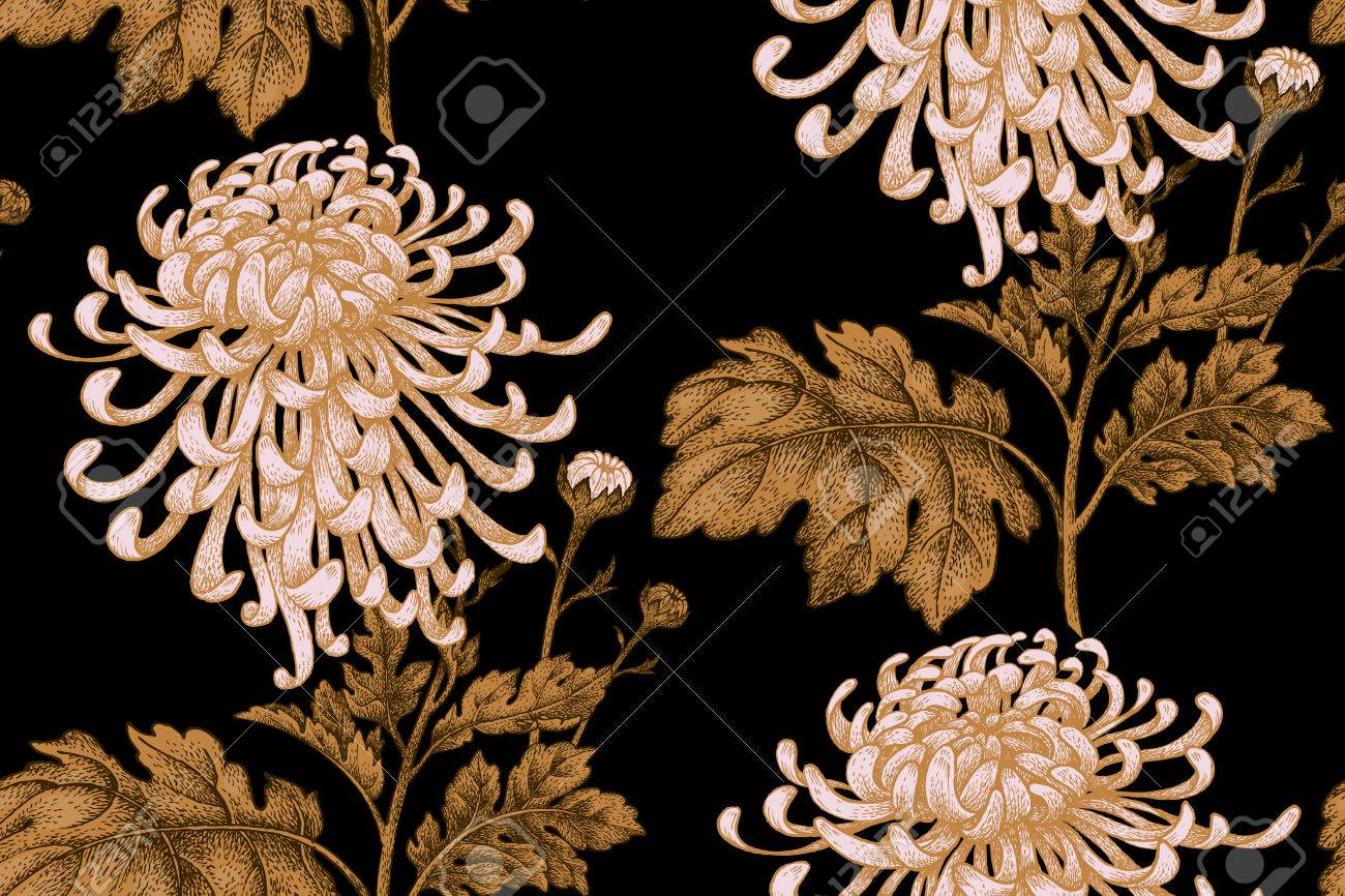 Japanese National Flower Chrysanthemum Illustration Luxury Design Textiles Paper Wallpaper Curtains Blinds Gold Leaves Branch White Flowers Black