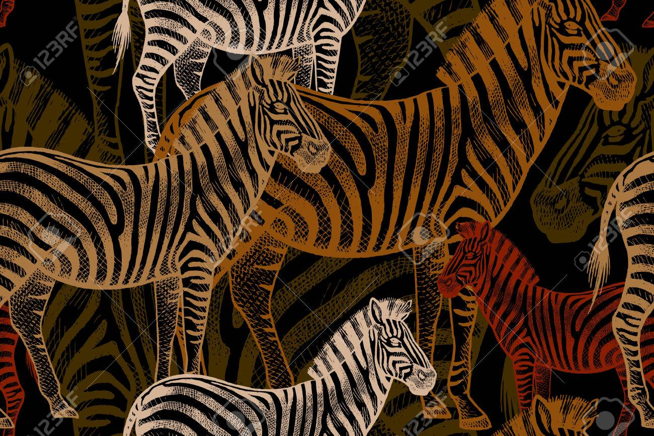 Seamless vector pattern with African animals. Colored Zebra on a black background. Template to create fabric, Wallpaper, paper, textiles, curtains, design summer clothes in the style of Safari. - 63424141
