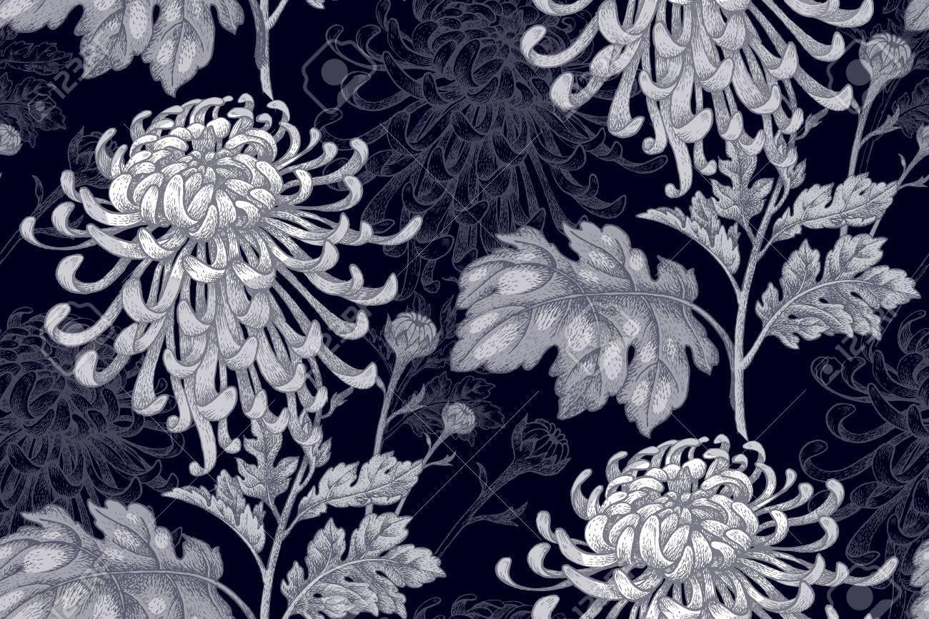 Fleurs De Chrysantheme Blanc Sur Un Fond Noir Seamless Pour Un