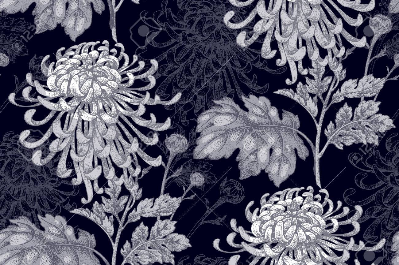 Flowers White Chrysanthemum On A Black Background Seamless Pattern For Fabric Paper