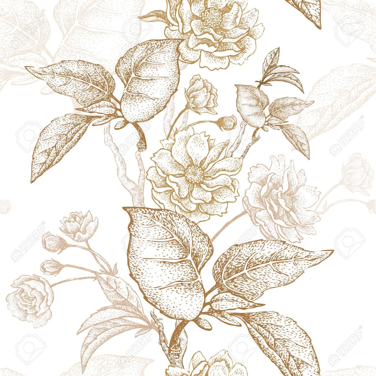 Bordados De Oro Sobre Un Fondo Blanco. Ilustración Vectorial Basado ...
