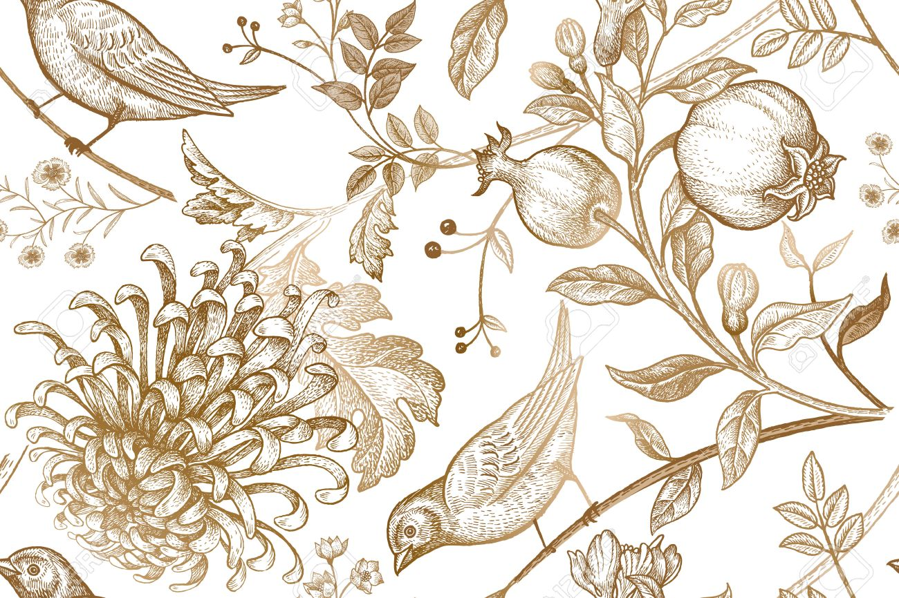 Vintage Japonés Crisantemo Flores, Granadas, Ramas, Hojas Y Pájaros ...