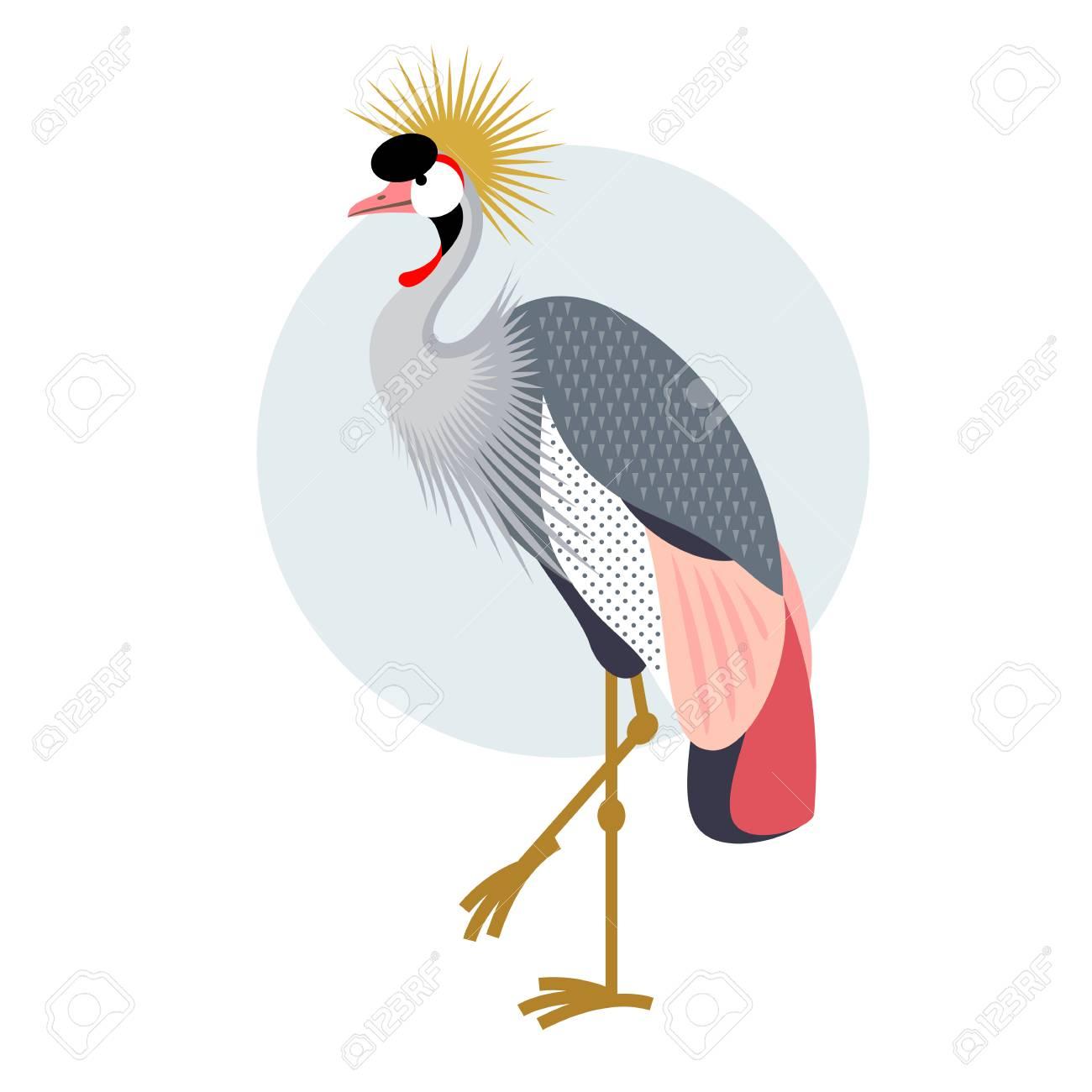 Grue Couronnée Par Des Oiseaux. Décoratif Vecteur Oiseau - Icône on