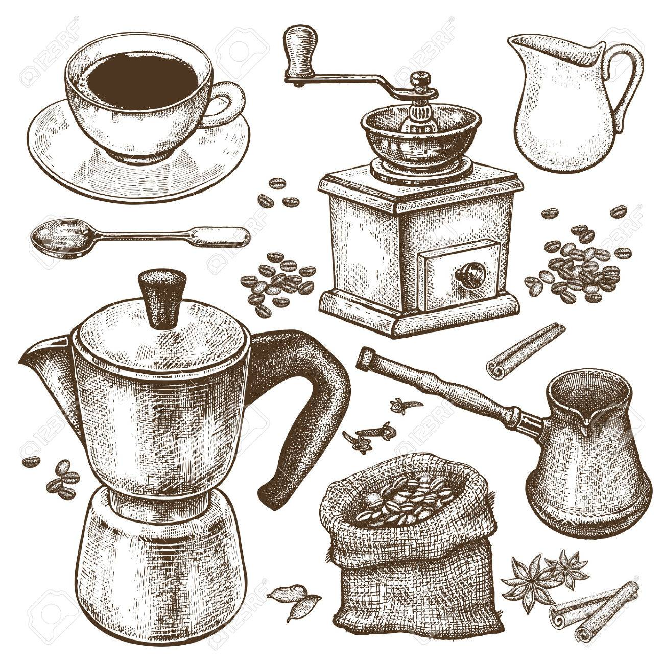 Hand Drawing Illustration Coffee Time Coffeepot Turkish Ibrik Grinder Cup