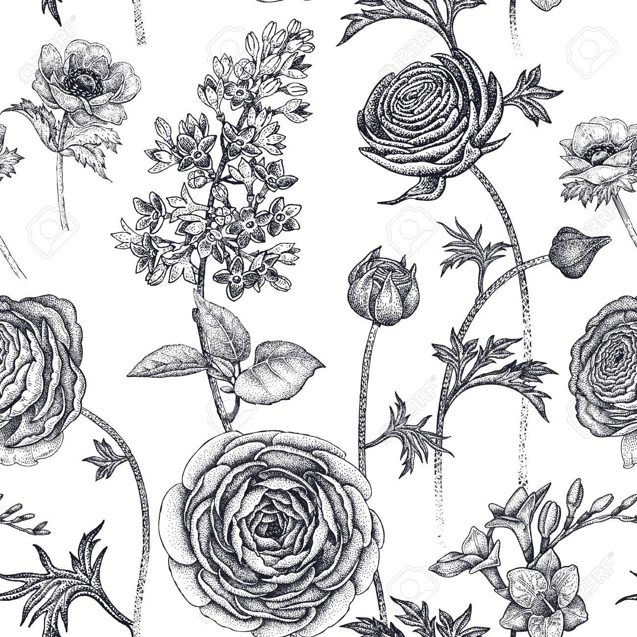 Spring Flowers Seamless Floral Pattern Hand Drawing Garden Plants