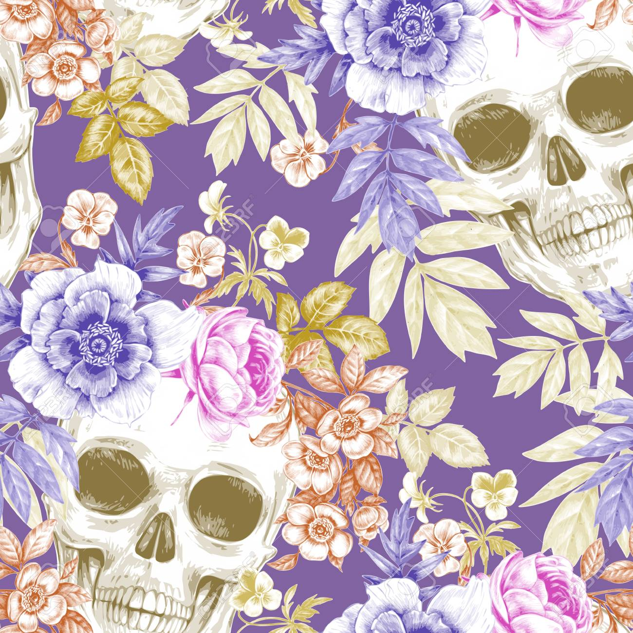 Vector Seamless Background Wreaths Of Garden Flowers And Skulls