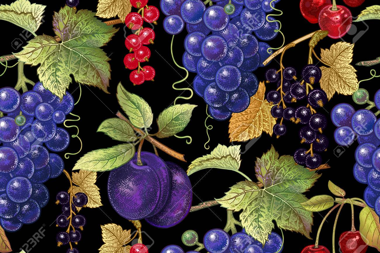 Seamless Botanical Pattern With Grapes Plum Red And Black Currant