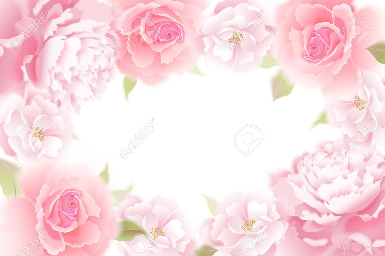Roses And Peonies. Vector Card. Garden Flower Hand Drawing Pastel.  Realistic Floral Illustration