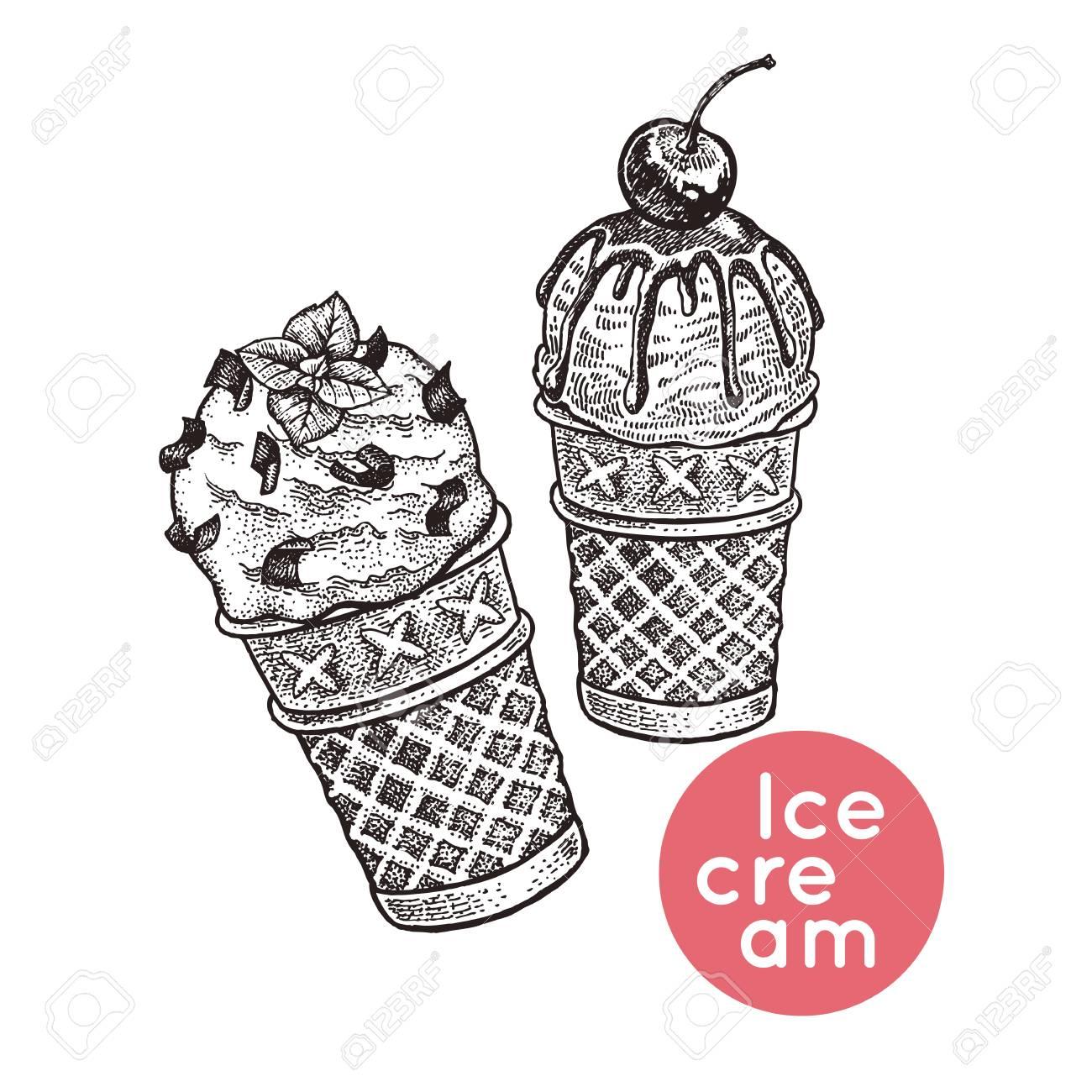 Cônes De Gaufre Avec De La Crème Glacée Dessert Isolé Avec Des Morceaux De Chocolat Glaçage Baie De Cerise Noir Blanc Gravure Vintage