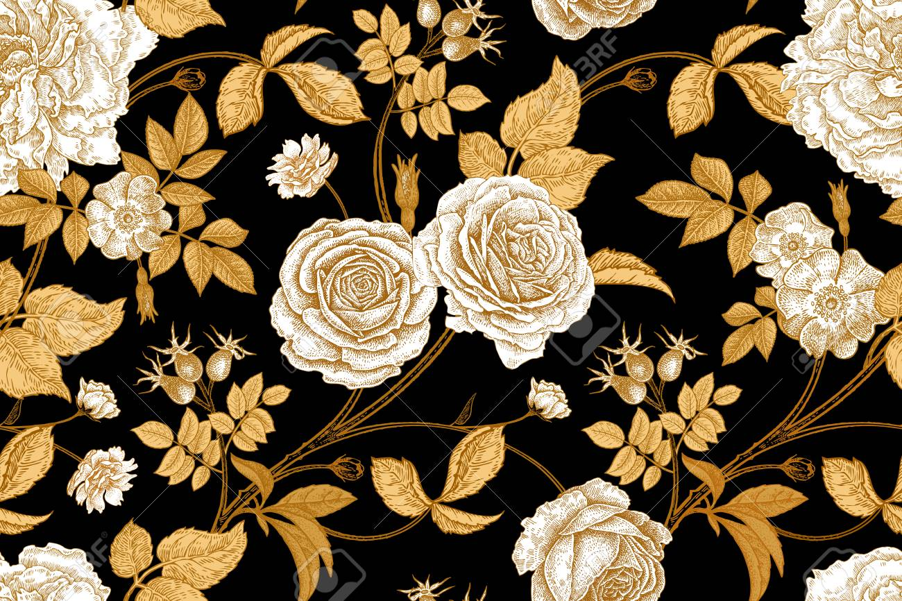 Roses, flowers, leaves, branches and berries of dog rose. Floral vintage seamless pattern. Gold, lack and white. Oriental style. Vector illustration art. For design textiles, paper, wallpaper. - 94026946