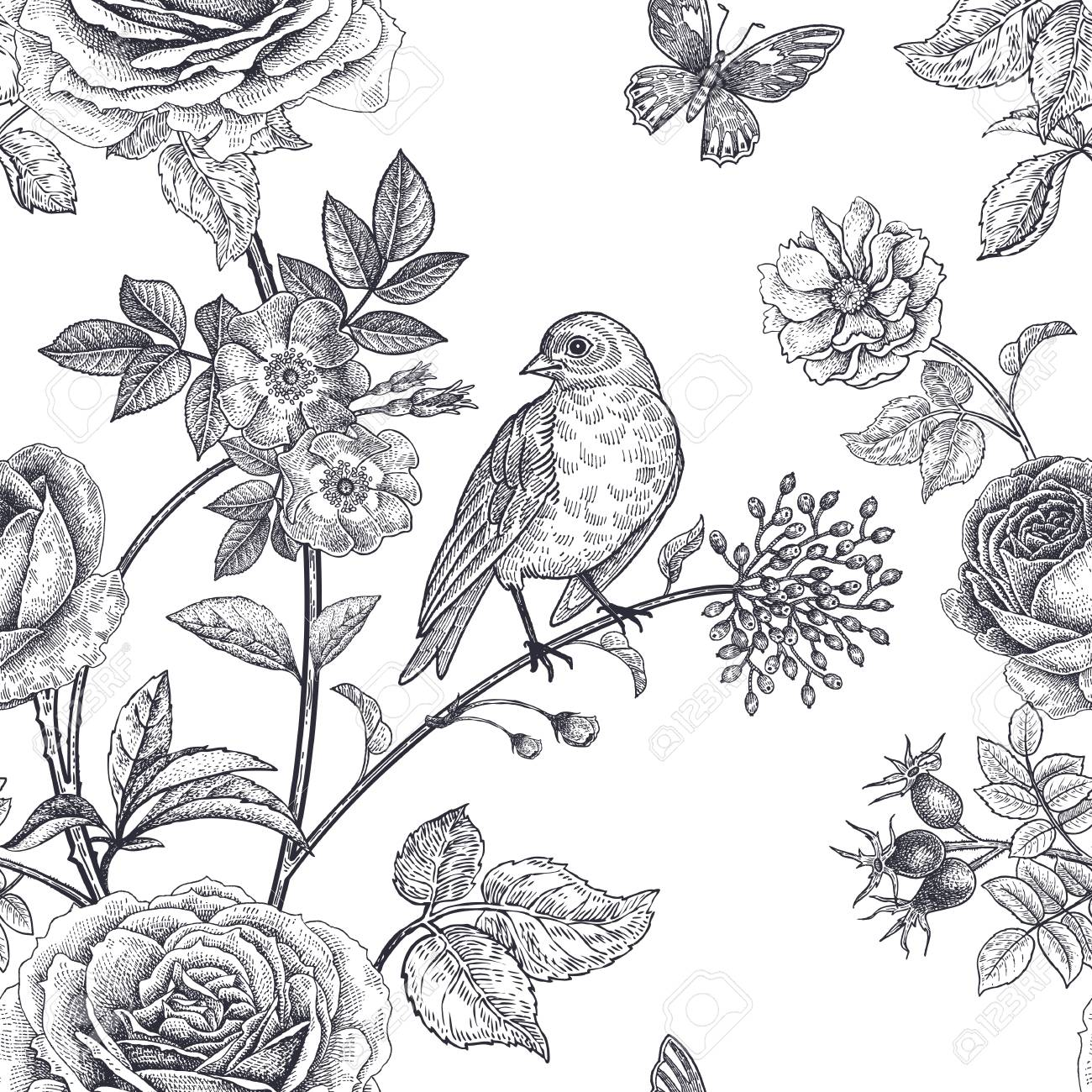 Garden Flowers Roses Peonies And Dog Rose Bird Butterflies Floral Vintage Seamless