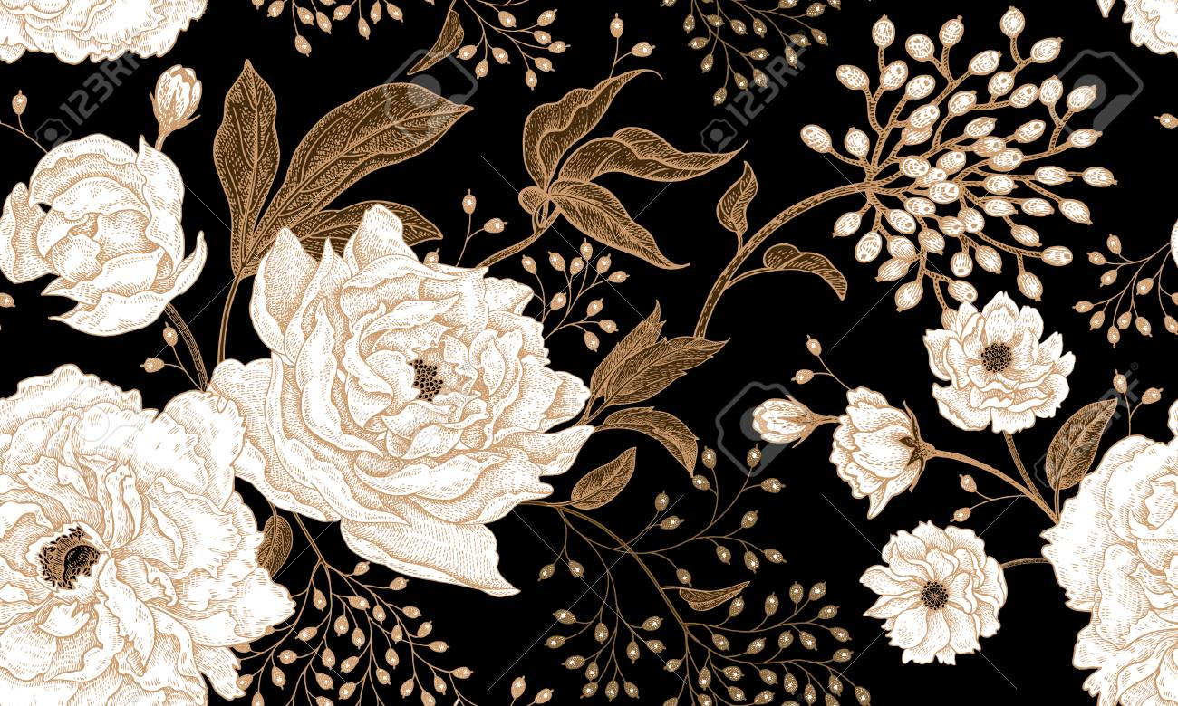 Peonies and roses. Floral vintage seamless pattern. Gold and white flowers, leaves, branches and berries on black background. Oriental style. Vector illustration art. For design textiles, paper. - 97691725