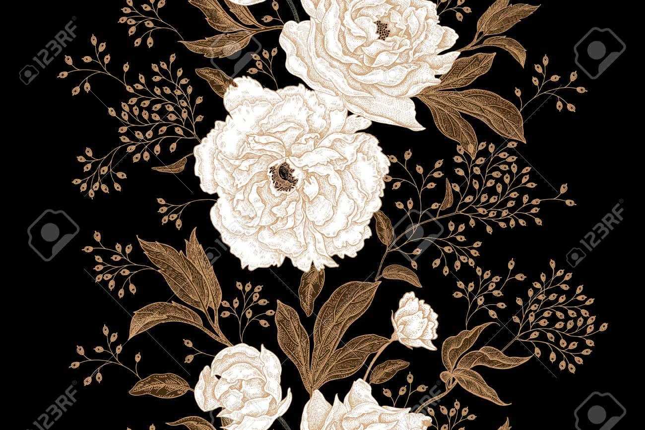Peonies And Roses Floral Vintage Seamless Pattern Gold And