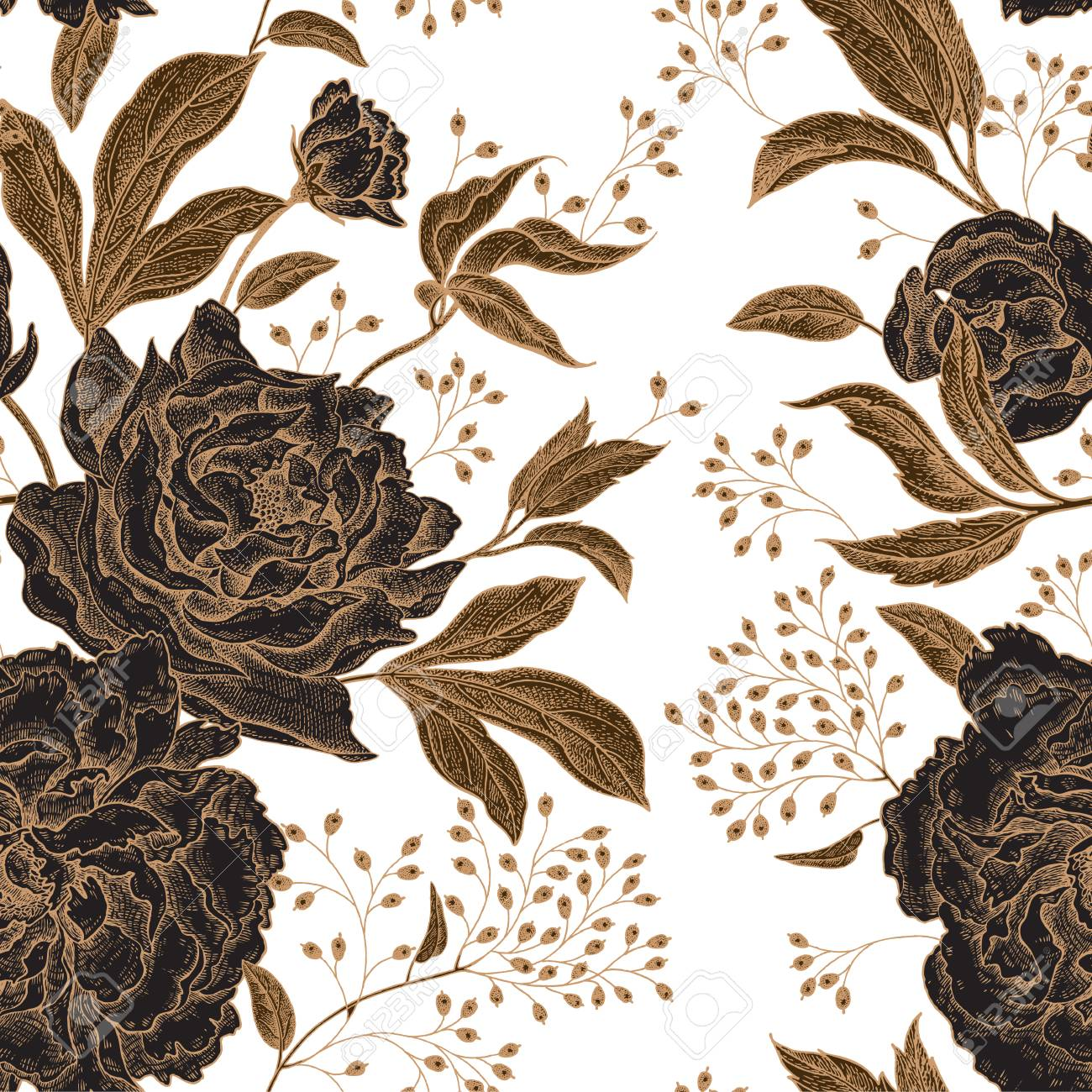 Peonies and roses. Floral vintage seamless pattern. Gold and black flowers, leaves, branches and berries on white background. Oriental style. Vector illustration art. For design textiles, paper. - 97691753
