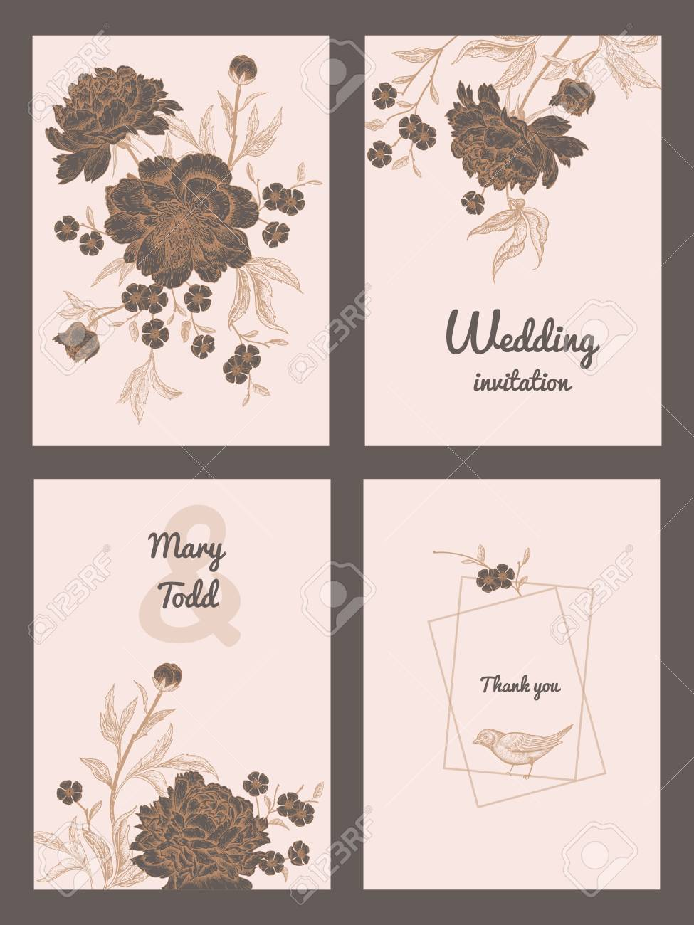 templates of wedding invitations set decoration with birds and