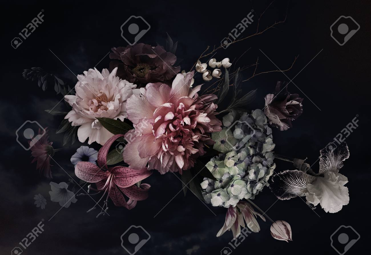 Vintage flowers. Peonies, tulips, lily, hydrangea on black. For business cards, covers, cosmetics and perfume packaging, interior decoration. Floral background. Baroque style floristic illustration. - 120598430