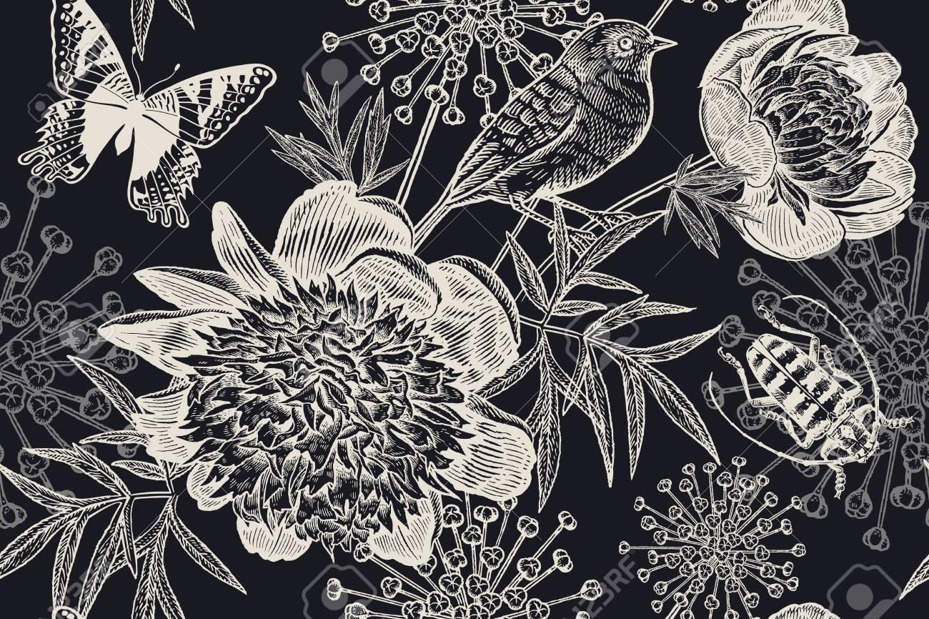 Black And White Floral Pattern For Creating Textiles Wallpaper