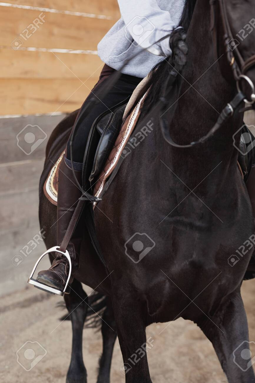 Closeup Of A Woman In Riding Gear Sitting In A Saddle On A Brown Stock Photo Picture And Royalty Free Image Image 141702903