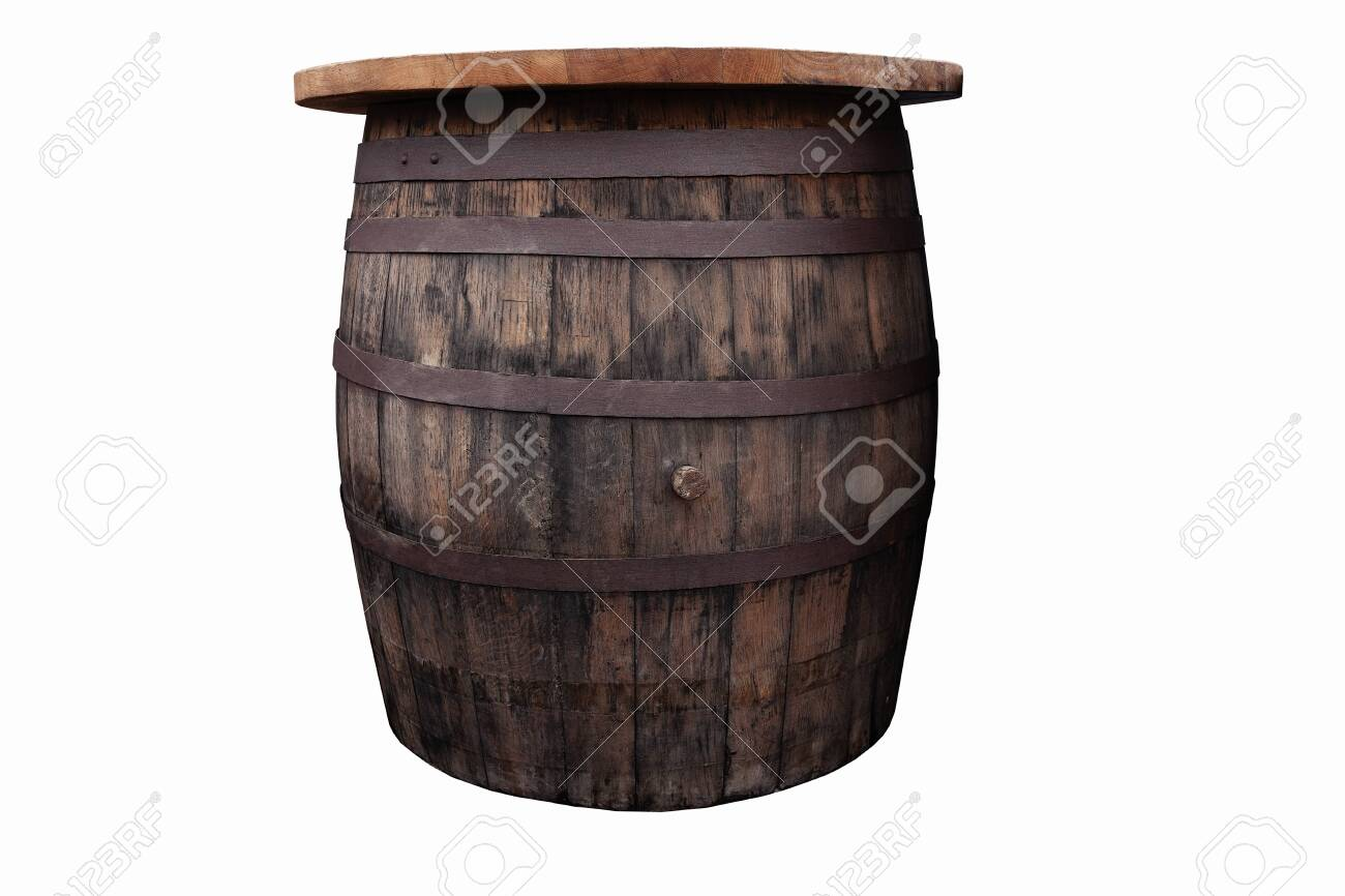 Old Brown Wooden Barrel On The White Background Cut Out Stock Photo Picture And Royalty Free Image Image 142149198
