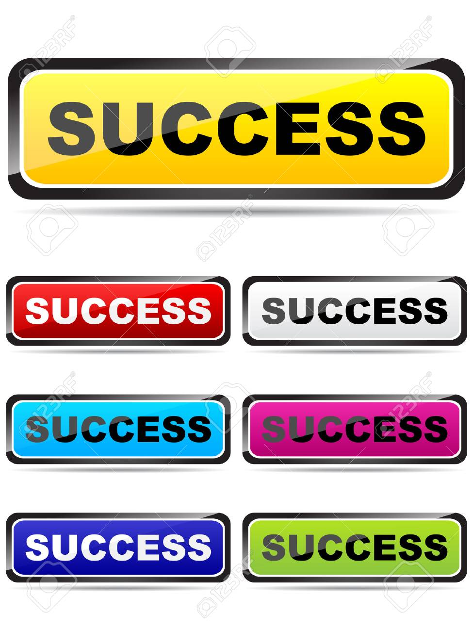 colorful buttons with success word Stock Vector - 6227536