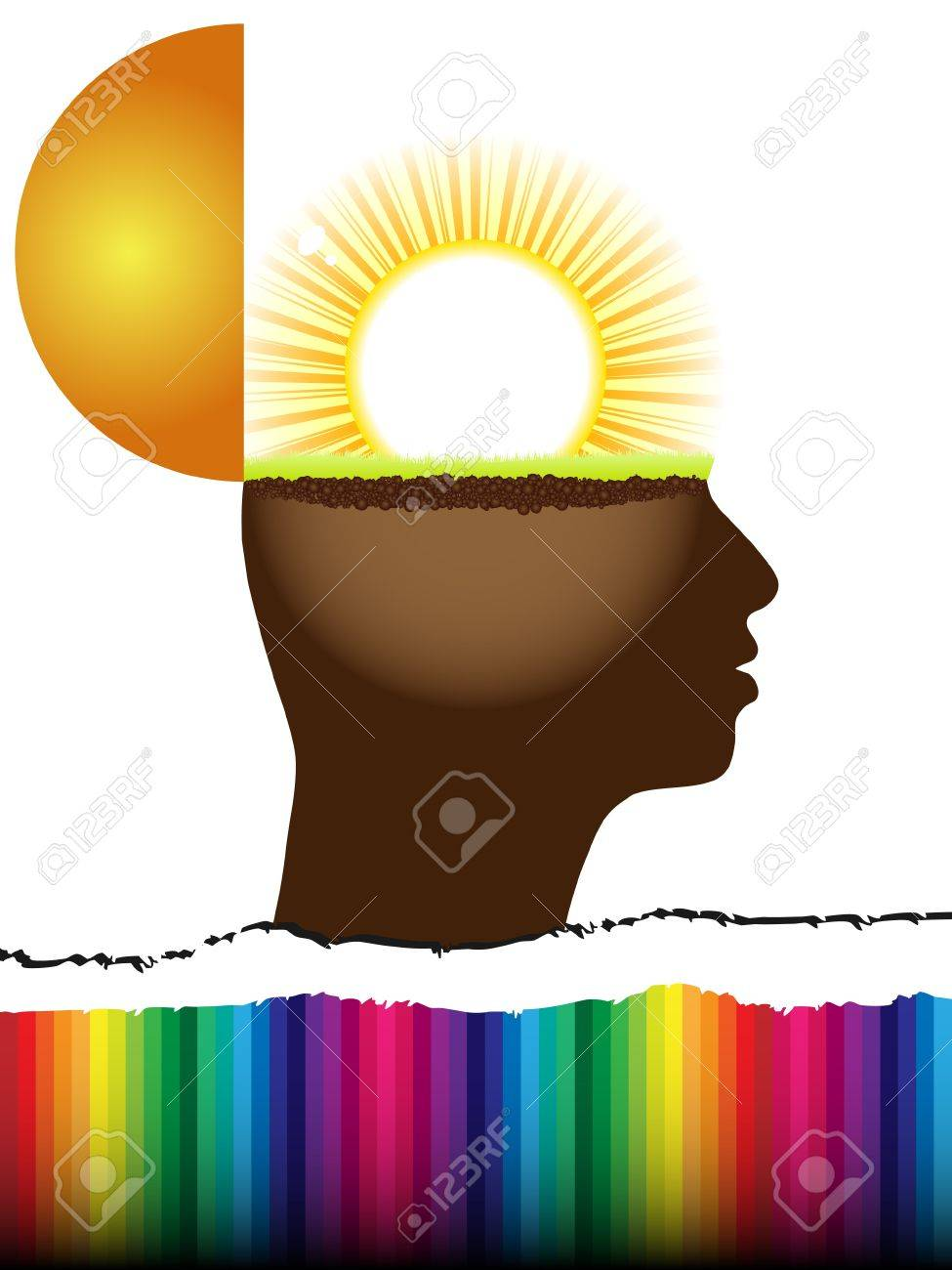 open mind with sun inside Stock Vector - 10288517