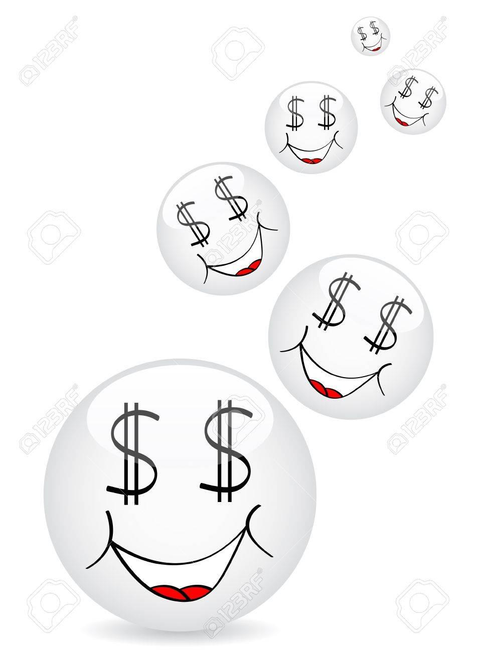 cartoon faces dollar icon Stock Vector - 10496609