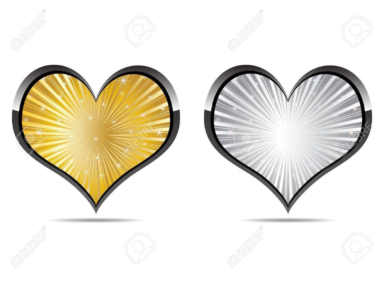 heart golden and silver Stock Vector - 10496894