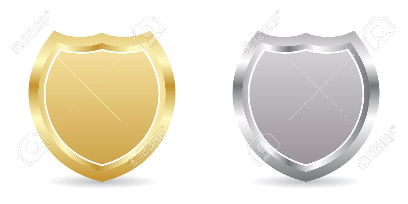 two badge golden and silver royalty free cliparts vectors and