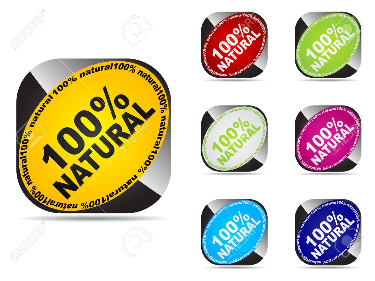 100% natural web buttons different colors Stock Vector - 10568240